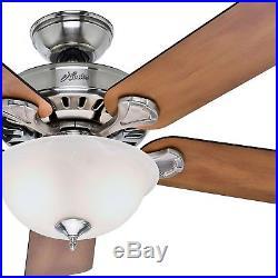 52 Hunter Brushed Nickel Ceiling Fan Swirled Marble Glass Light Kit