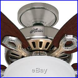 52 Hunter Builder Series Ceiling Fan Brushed Nickel with Frosted Bowl Light Kit