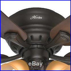 52 Hunter Casual Ceiling Fan Premier Bronze Finish with Light kit, Ships Free