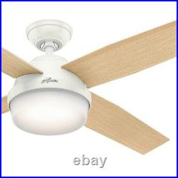 52 Hunter Contemporary Fresh White Ceiling Fan Light Kit and Remote Control