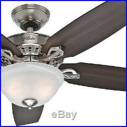 52 Hunter Fan Traditional Ceiling Fan in Brushed Nickel with Light Kit