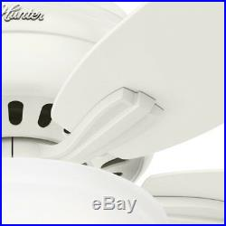 52 Hunter Fan White Ceiling Fan in White with a Clear Frosted Glass Light Kit