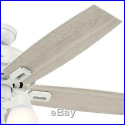 52 Hunter LED Ceiling Fan in Fresh White with Clear Frosted Glass Light Kit