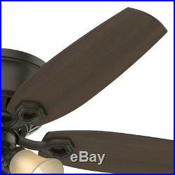 52 Hunter Low Profile Ceiling Fan in New Bronze with Toffee Glass Light Kit
