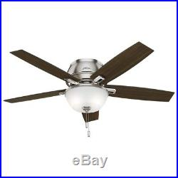 52 Hunter Low Profile Ceiling Fan with LED Light kit in Brushed Nickel