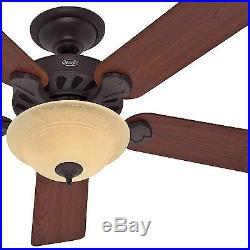 52 Hunter New Bronze Ceiling Fan with Amber Glass Light Kit 90% Pre-assembled