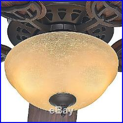 52 Hunter New Bronze Ceiling Fan with CFL Light kit and Amber Linen Glass