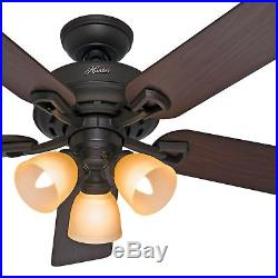 52 Hunter New Bronze Ceiling Fan with Light Kit Remote Control Included