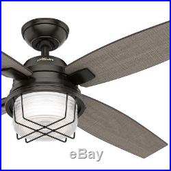 52 Hunter Outdoor Ceiling Fan, Noble Bronze Light Kit and Remote Control