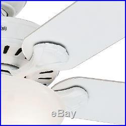 52 Hunter White Ceiling Fan Swirled Marble Glass Bowl Light Kit, Ships Free