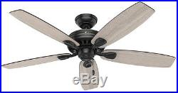 52 In. LED Indoor Matte Black Ceiling Fan With Light Kit Rustic Home Lighting