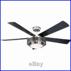 52 Inch Indoor Brushed Nickel Ceiling Fan with Light Kit Remote Control Electric