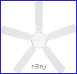 52 Inch Indoor White Ceiling Fan with Light Kit Antique Vintage Electric Blades
