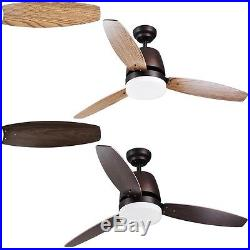 52 Indoor Ceiling Fan LED Light Kit 3 Blades Downrod Dimmable & Remote Control