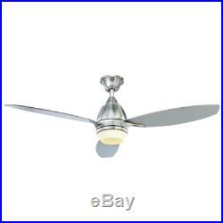 52 LED Airplane Ceiling Fan + Remote Sleek Brushed Nickel Office Loft Light Kit