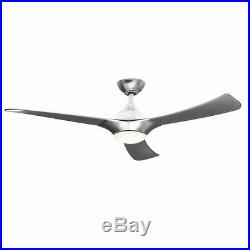 52 LED Brushed Aluminum Ceiling Fan 3 Blades with Light Kit & Remote Control