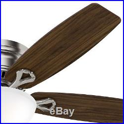 52 Low Profile Ceiling Fan in Brushed Nickel with Bowl LED Light kit, 5-Blade