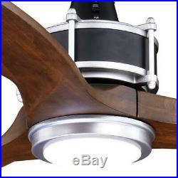 52 Matte Black & Brushed Silver LED Indoor/Outdoor Ceiling Fan with Light Kit