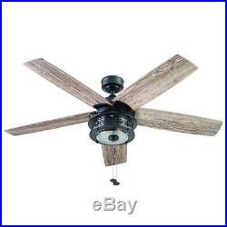 52 Matte Black LED Indoor/Outdoor Ceiling Fan with Light Kit