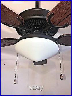 52 ORB oil rubbed bronze outdoor ceiling fan with 2 light tear drop light kit