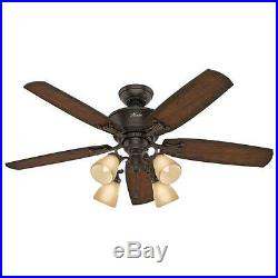 52 Onyx Bengal 4 Light Ceiling Fan with Light Kit Reversible Blades