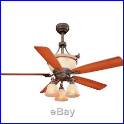 52 Rustic Bronze Ceiling Fan + Remote Unique Up-Light Cone Kit Lodge Cabin Cool