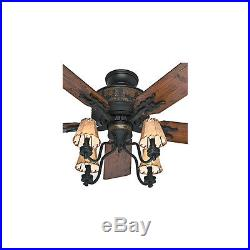 52 Rustic Cabin Oil Rubbed Bronze Ceiling Fan 4-Canvas Light Shade Kit 5-Blades