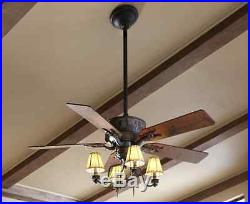 52 Rustic/Cabin Oil Rubbed Bronze Ceiling Fan 5-Blades 4-Canvas Light Shade Kit