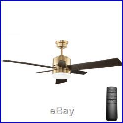52 Wooden LED Cabin Ceiling Fan + Remote Unique Brushed Gold Fixture Light Kit