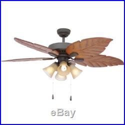52 Wooden Palm Leaf Ceiling Fan Unique Tuscan Branch Light Kit Bronze Fixture