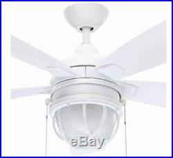 52 in 5-Durable White Blades Indoor/Outdoor Ceiling Fan Frosted Glass Light Kit
