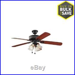 52-in Black Downrod or Close Mount Indoor Residential Ceiling Fan with Light Kit