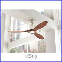 52 in. Brushed Nickel Ceiling Fan LED Light Kit Remote Control Real Wood Blades