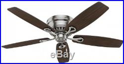 52 in. Brushed Nickel Ceiling Fan Light Kit LED Indoor Low Profile 5 Blades New