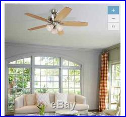 52-in Brushed Nickel Close Mount Indoor Ceiling Fan with Light Kit and Remote