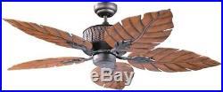 52 in. Ceiling Fan Fern Leaf Blades Tropical 3-Speed Light Kit Oil Rubbed Bronze