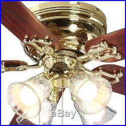 52 in. Ceiling Fan Polished Brass Indoor with 5 Reversible Blades and Light Kit