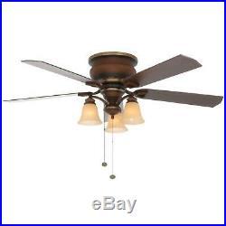 52 in. Classic Flush Ceiling Fan Low Profile 3-Light Kit Remote Control Quiet