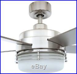 52 in. Indoor Brushed Nickel Ceiling Fan with Dome Light Kit and Remote Control