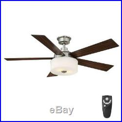 52 in. Indoor Brushed Nickel Ceiling Fan with Light Kit and Remote Control
