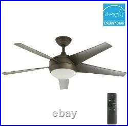 52 in. Indoor Ceiling Fan Oil Rubbed Bronze with Light Kit and Remote Control