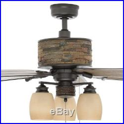 52 in Indoor Outdoor Ceiling Fan Natural Iron Stone Light Kit Porch Patio Rustic