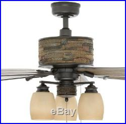 52 in. Indoor Outdoor Stone Housing Natural Iron Ceiling Fan Wet Rated Light Kit
