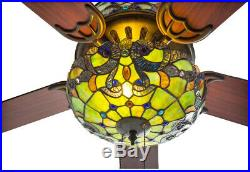 52 in. Indoor Teal Ceiling Fan with Light Kit Stained Glass River of Goods
