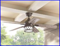52 in. Integrated LED Indoor Outdoor Natural Iron Ceiling Fan with Light Kit