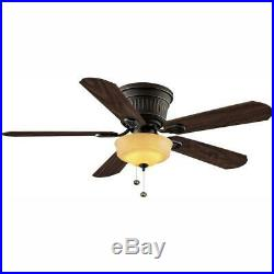 52 in. LED Indoor Oil Rubbed Bronze Ceiling Fan With Light Kit, Reversible Blades