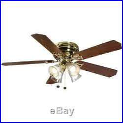 52 in. LED Indoor Polished Brass Ceiling Fan with Light Kit 4 shades remote pull