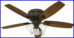 52 in. Low Profile Ceiling Fan Bronze LED Light Kit Indoor Flush Mounting System