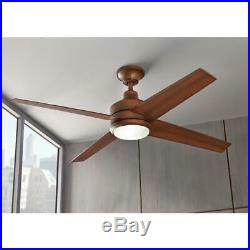 52 in. Modern Wood Ceiling Fan with Integrated LED Light Kit + Remote Control Set