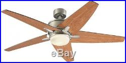 52-in Nickel Downrod/Close Mount Indoor Ceiling Fan Light Kit Remote 5-Blades